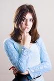 Adolescente pensativo en blanco Imagenes de archivo