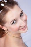 Adolescente piacevole che osserva in su Fotografie Stock