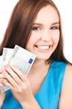 Adolescente precioso con el dinero Fotografía de archivo