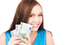 Adolescente precioso con el dinero Fotografía de archivo libre de regalías