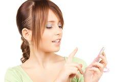 Adolescente precioso con la calculadora Fotografía de archivo