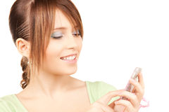 Adolescente precioso con la calculadora Fotos de archivo