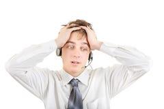 Adolescente preocupado con las auriculares Imagen de archivo libre de regalías
