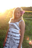 Adolescente puesta a contraluz artístico Fotografía de archivo