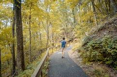 Adolescente que camina el rastro apalache durante temporada de otoño Fotos de archivo