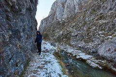 Adolescente que camina en invierno Foto de archivo libre de regalías