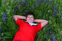 Adolescente que descansa sobre césped con las flores azules Foto de archivo