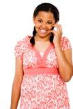 Adolescente que fala no móbil Fotos de Stock Royalty Free