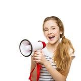 Adolescente que grita en megáfono Fotografía de archivo libre de regalías