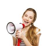 Adolescente que grita en megáfono Foto de archivo