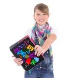 Adolescente que guarda o PC da tabuleta com ícone das aplicações dos multimédios Foto de Stock Royalty Free