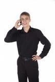 Adolescente que habla en la diversión del teléfono Imagen de archivo libre de regalías