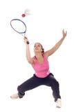 Adolescente que joga o badminton Imagens de Stock
