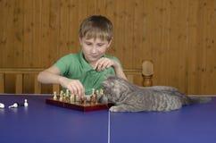 Adolescente que juega a ajedrez con un gato en una tabla del tenis Imagen de archivo