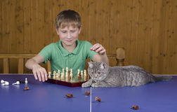 Adolescente que juega a ajedrez con un gato en una tabla del tenis Fotografía de archivo