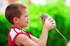 Adolescente que juega con el animal doméstico de la rata Fotografía de archivo libre de regalías