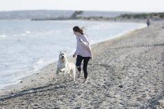 Adolescente que juega con su perro en una playa Fotos de archivo libres de regalías