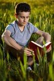 Adolescente que lee un libro en la puesta del sol Imagen de archivo