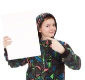 Tarjeta en blanco blanca que hace una pausa del adolescente Fotos de archivo libres de regalías