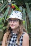 Adolescente que lleva a cabo un lorikeet colorido del arco iris Foto de archivo libre de regalías