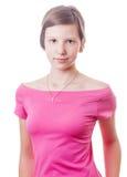 Adolescente que lleva la blusa rosada Imagen de archivo