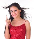 Adolescente que muestra un dedo Foto de archivo libre de regalías