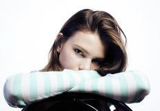 Adolescente que parece preocupado aislado en blanco Imagen de archivo libre de regalías