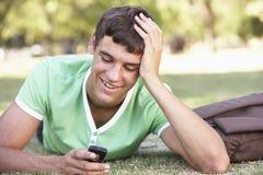 Adolescente que pone en mensaje de texto de la lectura del parque en el teléfono móvil Foto de archivo libre de regalías
