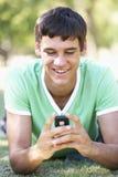 Adolescente que pone en mensaje de texto de la lectura del parque en el teléfono móvil Imágenes de archivo libres de regalías