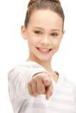 Adolescente que señala su finger Fotografía de archivo