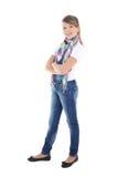 Adolescente que se coloca sobre blanco Foto de archivo libre de regalías