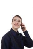 Adolescente que se divierte que habla en el teléfono Fotografía de archivo libre de regalías