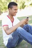 Adolescente que se sienta en parque usando el teléfono móvil Fotos de archivo