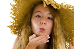 Adolescente que sopla un beso Imagenes de archivo