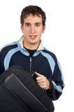 Adolescente que sostiene un bolso de la computadora portátil Fotos de archivo libres de regalías