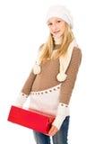 Adolescente que sostiene un regalo Fotografía de archivo