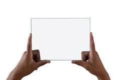 Adolescente que sostiene una tableta digital de cristal Foto de archivo