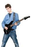 Adolescente que toca la guitarra eléctrica Imágenes de archivo libres de regalías