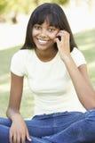 Adolescente que usa el teléfono móvil en parque Fotografía de archivo