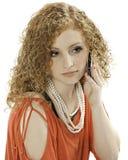 Adolescente rojo del pelo del teléfono celular Imagenes de archivo