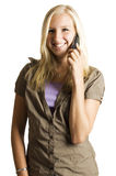 Adolescente rubio de Beautifull en el teléfono Imagenes de archivo