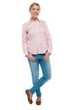 Adolescente rubio elegante en casual de moda Imagenes de archivo