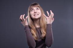 Adolescente rubio irritado Fotografía de archivo