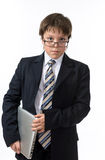 Adolescente seguro con la computadora portátil Imagen de archivo libre de regalías