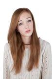 Adolescente serio con el pelo rojo Fotografía de archivo libre de regalías