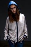Adolescente serio en sombra Imagenes de archivo