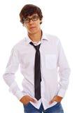 Adolescente serio en vidrios negros Foto de archivo libre de regalías