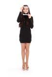 Adolescente sonriente con la tableta digital que hace el selfie Fotografía de archivo