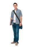 Adolescente sonriente con una cartera Imagenes de archivo