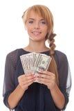 Adolescente sonriente del cuadro brillante con el dinero Imágenes de archivo libres de regalías